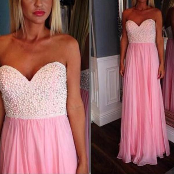 Classic Prom Dress Long Sexy Beaded Pearls Top Sweetheart Neck Sleeveless Pink Chiffon Formal Length Bridesmaid Dress Evening Party Gowns