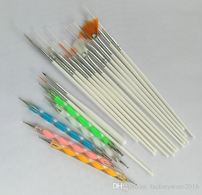 20 unids Nail Art Design Brushes Kit Brand New Nail Gel Polish Art Styling Acrílico Juego de Cepillos Nail Art Salon Pintura Dotting Pen Herramientas