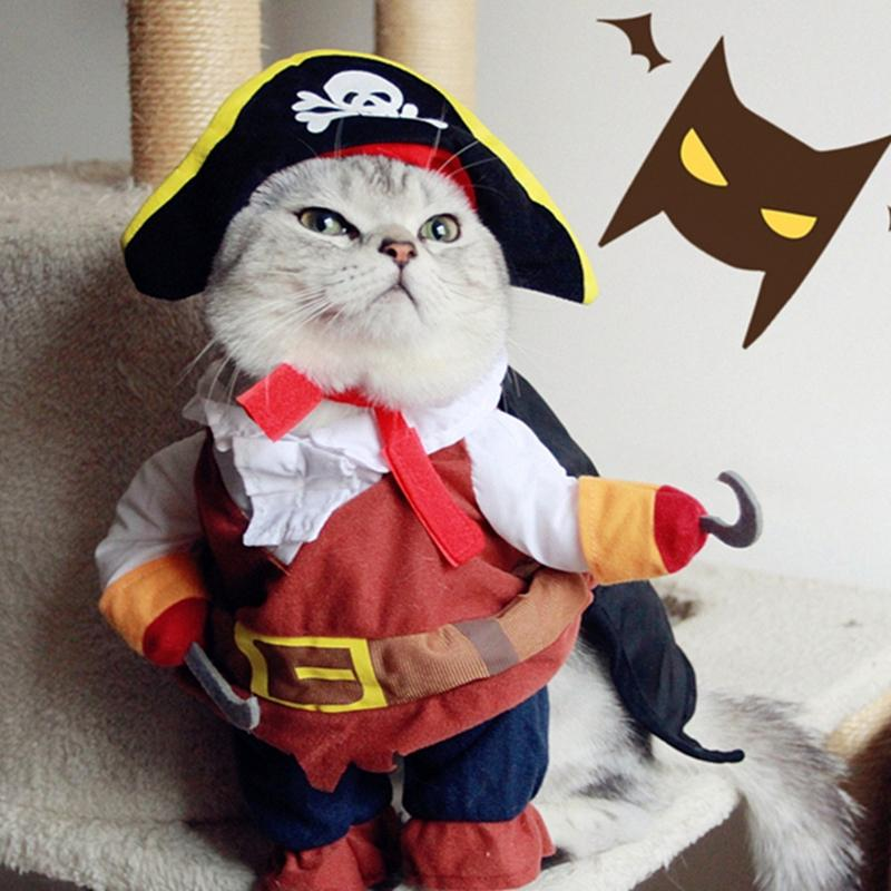 0f5d559aceb Funny Pirate Cat Clothes For Pet Cat Costume Suit Dog Clothes Corsair  Dressing Up Clothes For Dogs New Chihuahua Plus Hat 3 Cat Dog Halloween Costumes  Cat ...