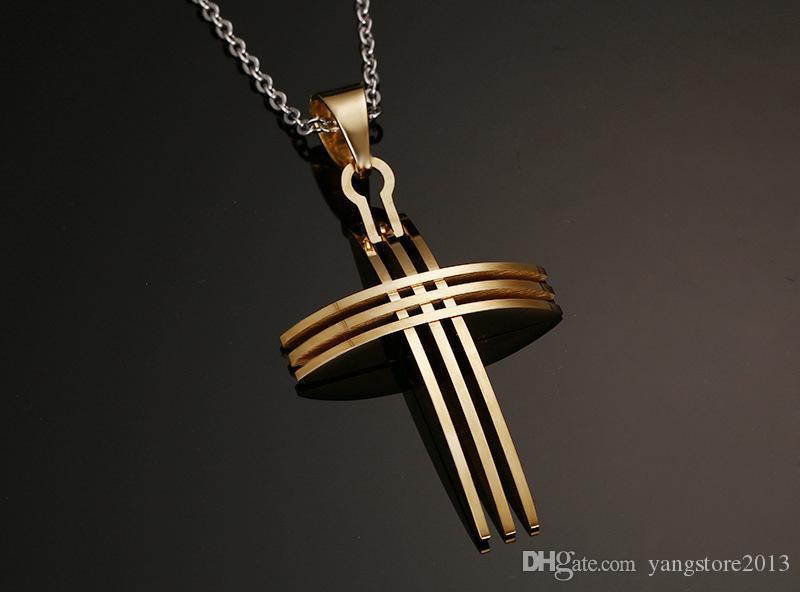 Moda collana croce pendenti in acciaio inox placcato in oro 18 carati con catena da 20 pollici le donne uomini PN-127