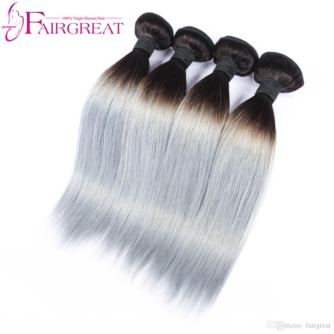 Fairgreat mbre human hair weave Straight 1B&Sliver Grey two tone color Hair weft 10~20inch Brazilian Peruvian Malaysian Indian hair Wave