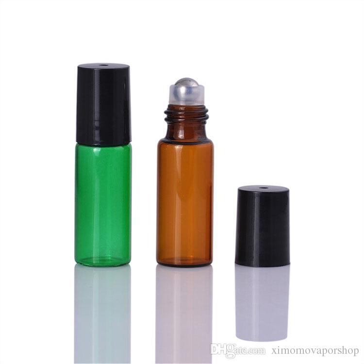 EUA REINO UNIDO AU Atacado Grosso 5 ml Vermelho / Roxo / Verde / Âmbar Vazio Rolo em Garrafa De Vidro para Garrafa De Óleo Essencial 5CC Mix Cores Garrafas De Rolo
