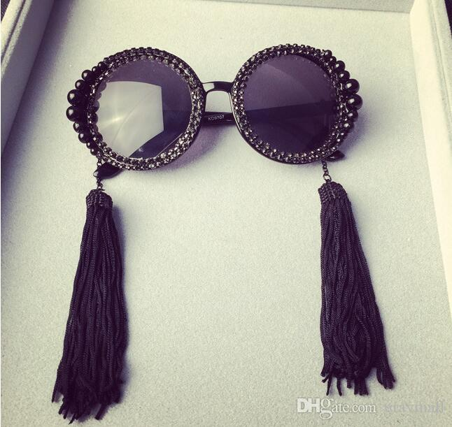 Новые солнцезащитные очки с кисточкой и жемчугом дизайнерские солнцезащитные очки для женщин с бриллиантами