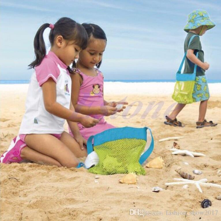 Kids Pick Beach Treasures Sea Shell Sand Away Carry Toys Pouch Tote Mesh Children Storage Bag