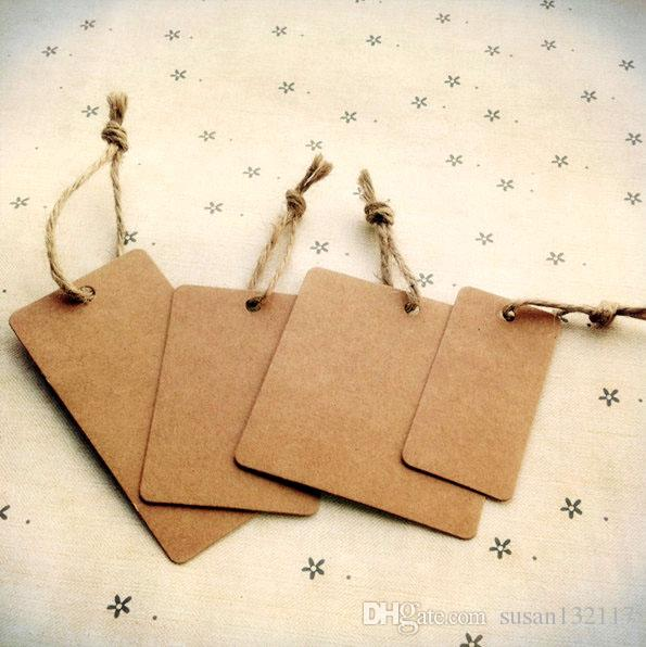 Brown Kraft Paper Tags Square 4x8cm Luggage Wedding Note DIY Scrapbooks Blank Hang Tag Gift Packaging Tags Clothing Tag Labels