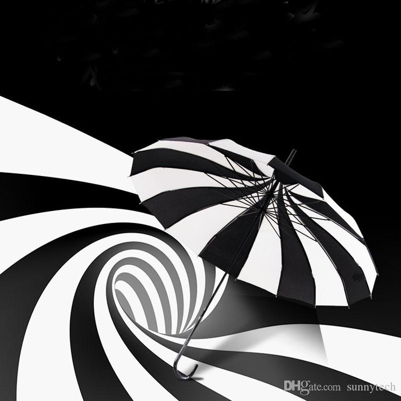Diseño creativo Paraguas de Golf A Rayas Blanco y Negro De largo mango Recta Pagoda Wedding Party Decor Umbrella Envío Gratis ZA1172