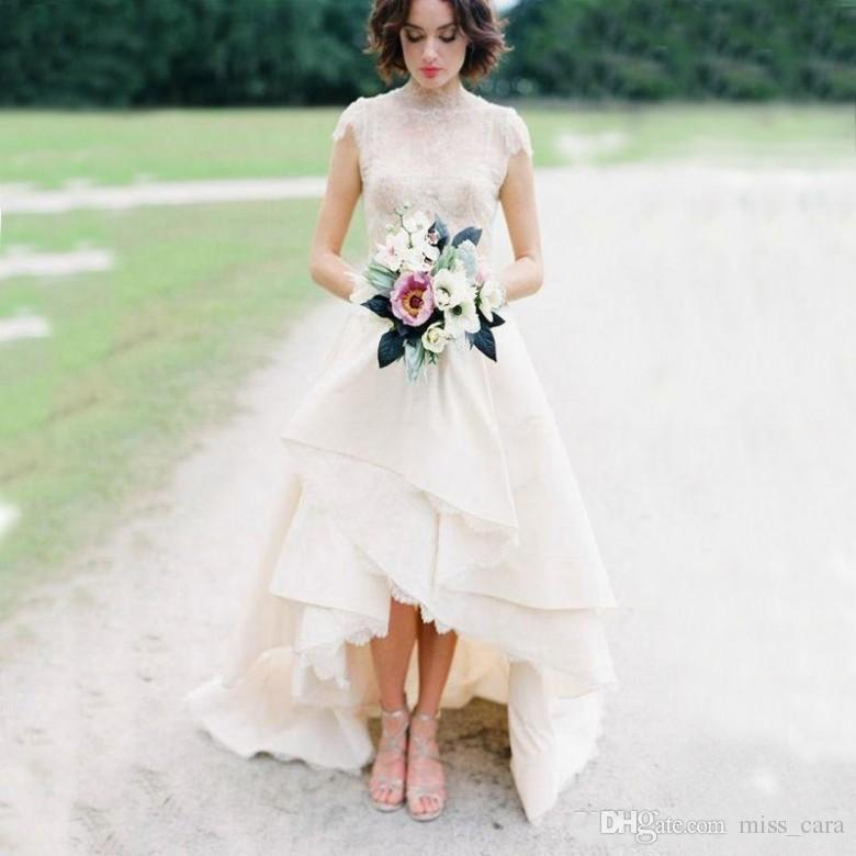 Country Style High Low Wedding Dresses Top Lace High Neck Cap Sleeves Satin Tiers Sweep Train Hem Lace Bridal Gown Garden 2017
