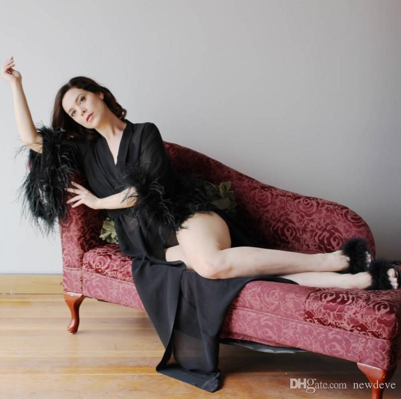 Sexy Black Bridal Sleewwear Чистые дамы Свадебные аксессуары На заказ Перо рукава Длина пола Длина Хамата Долго