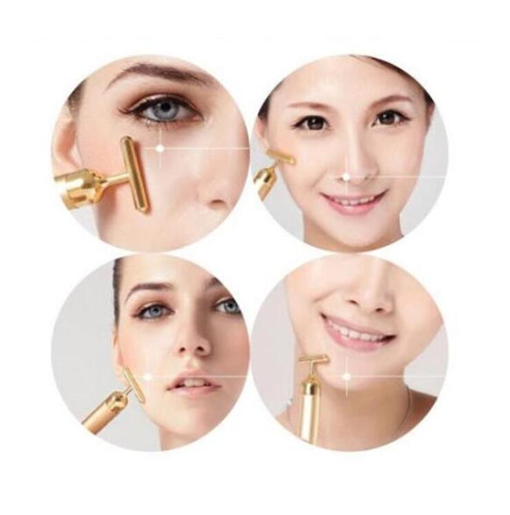 Viso dimagrante viso 24k oro vibrazione bellezza viso rullo massaggiatore bastone ascensore pelle che stringe rughe bastone bar viso cura della pelle regalo
