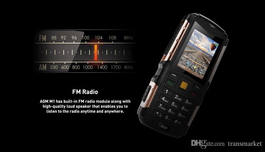 Orginal AGM M1Tri-proof phone 2.0Inch IP68 Waterproof 3G WCDMA 128MB+64MB Mobilephone 2750mAh Dual SIM Card 2.0MP Dustproofphone Hot Sale