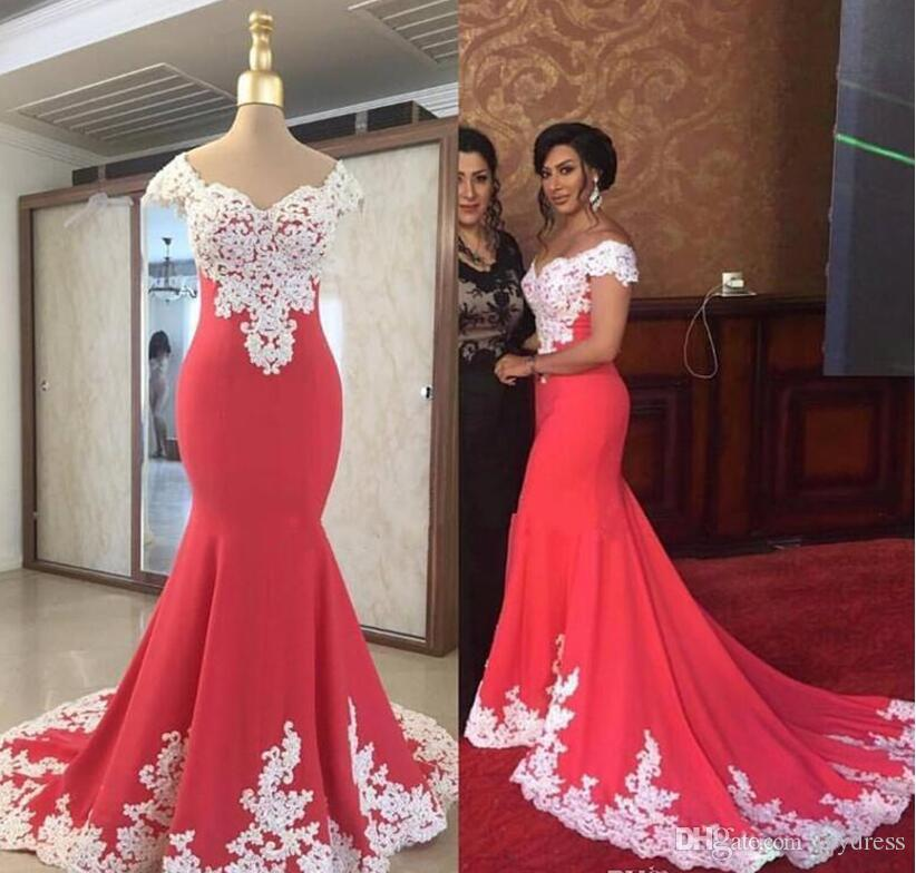 Junoesque Mermaid Evening Gown White Lace V Neck Prom Dresses ...