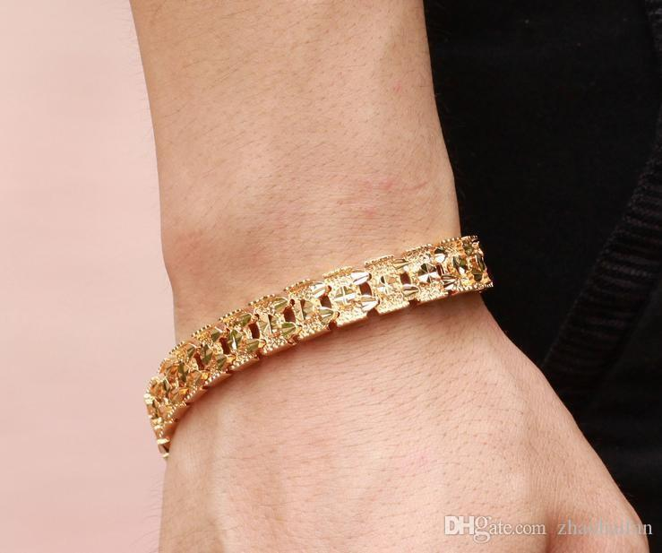ZHF BIJOUX Luxe 18K plaqué or bracelet toute nouvelle conception largeur 11mm infini Bracelet bracelet Mode LIVRAISON GRATUITE 160