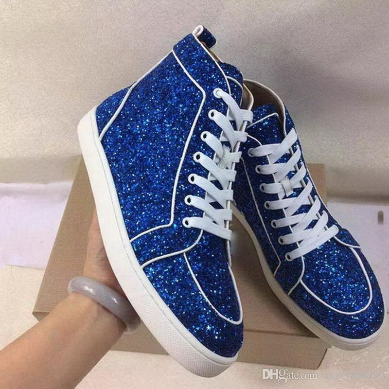 New Designer Brand Red Bottom Glitter Sneakers For Men Women Blue Glitter  High Top Casual Shoes Men Lace Up Flat Shoes Women Sneakers Black Shoes  Wholesale ... 461a25cc0