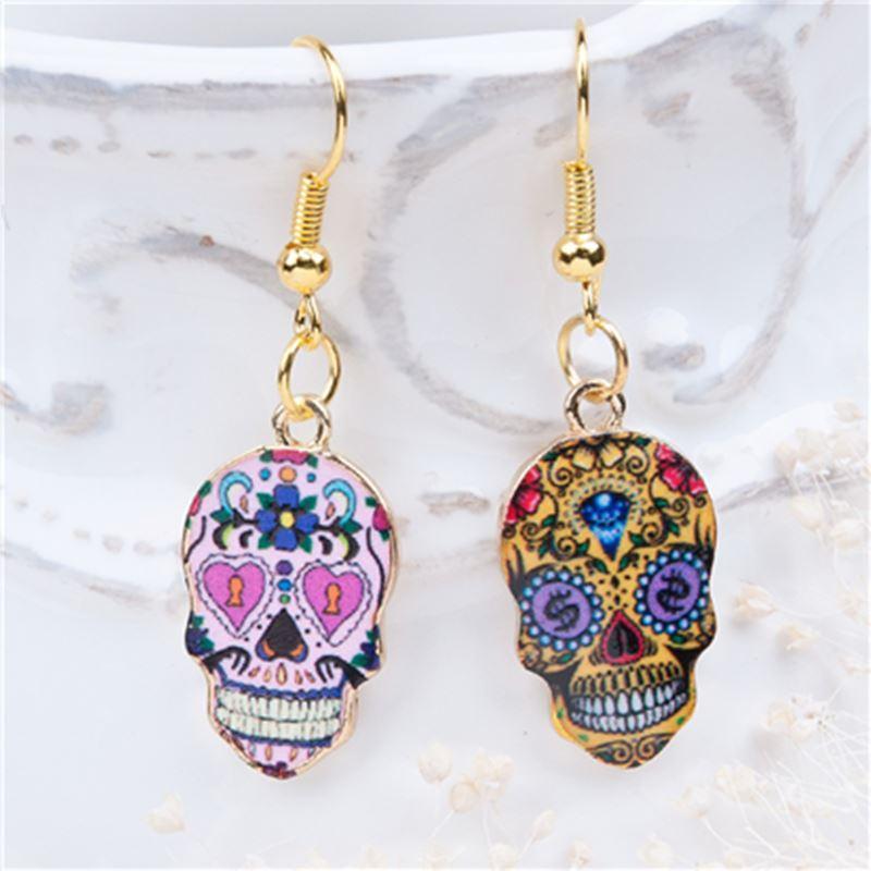 f4a44b2bd New Fashion Earrings Gold Plated Multicolor Halloween Sugar Skull Pattern  41mm(1 5/8