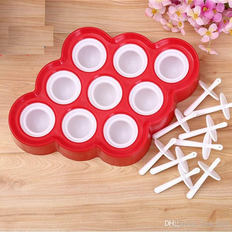 New Silicone Mini Ice Pops Mold Chocolates & round Cubes Mould Maker with 9 Sillicon Stickers Party Supply High Quality