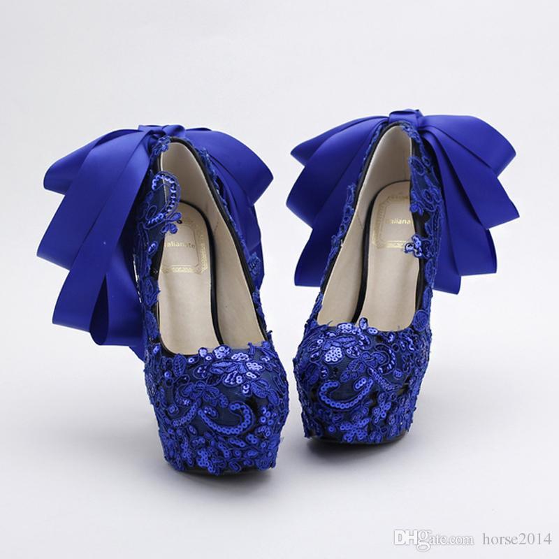 Zapatos de boda de encaje de color azul Lentejuelas Glitter bombas de discoteca Hermoso arco de satén de las mujeres zapatos de fiesta fiesta zapatos de vestir azules