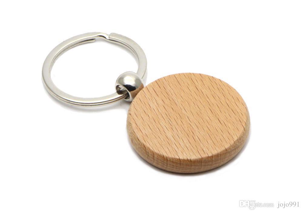 100X Porte-clés en bois blanc cercle 1,25 « » Porte-clés KW01Y Livraison gratuite