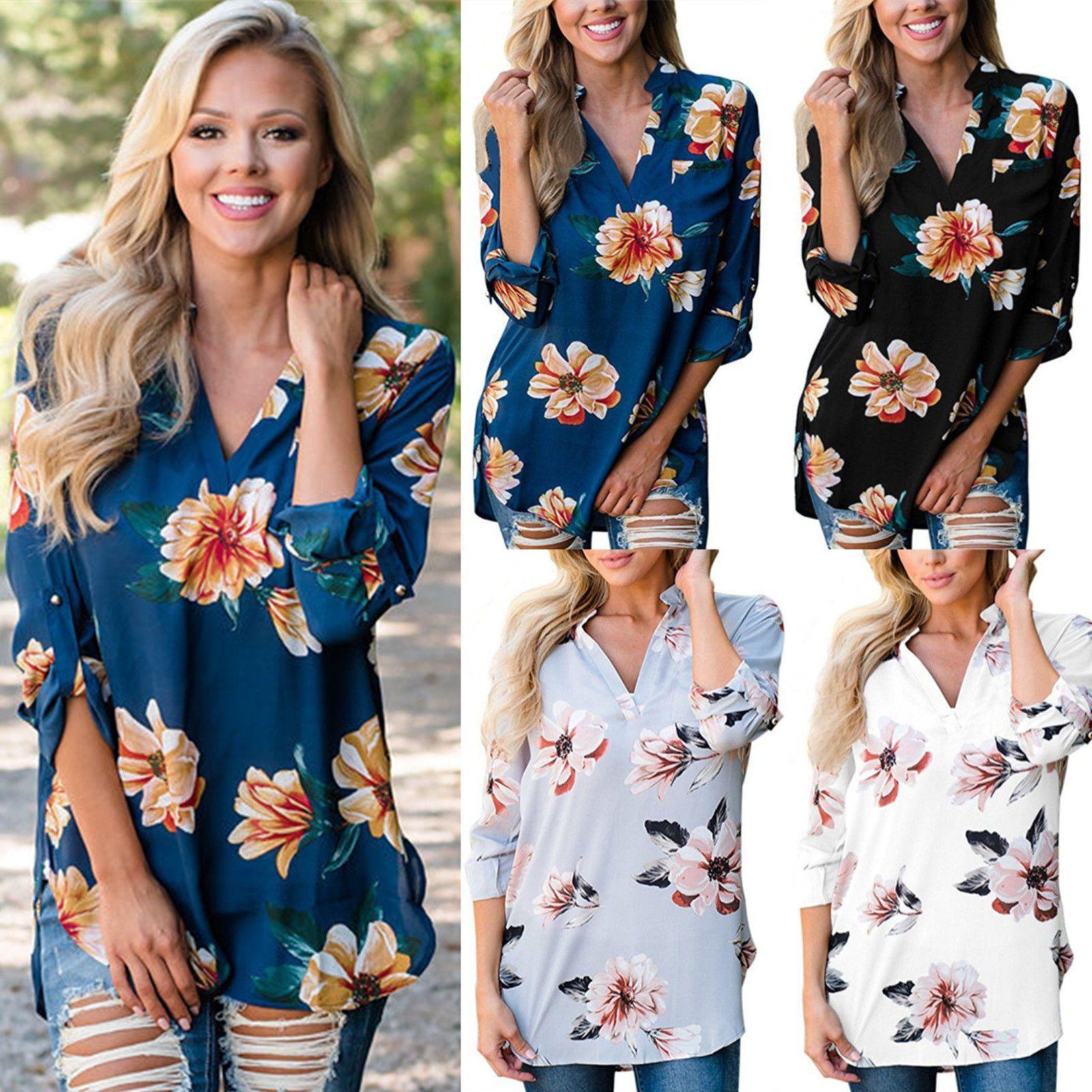 6f581235b27ca Flower Printed T Shirts Women Tops Summer T Shirt Women Long Sleeve V Neck  Bandage T Shirt Loose Tee Plus Size Eight Color 0567 Tshirt And Shirt  Shirts Cool ...