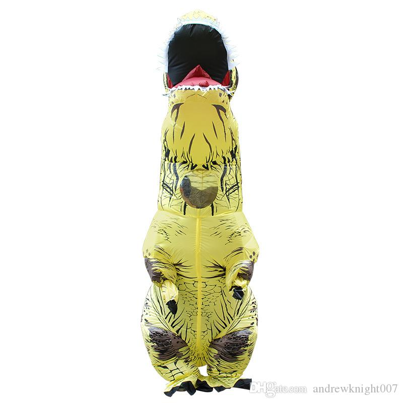 Новый взрослый мир T-Rex Надувной костюм Uni-Sex 7 цветов смешная одежда для партии открытый косплей