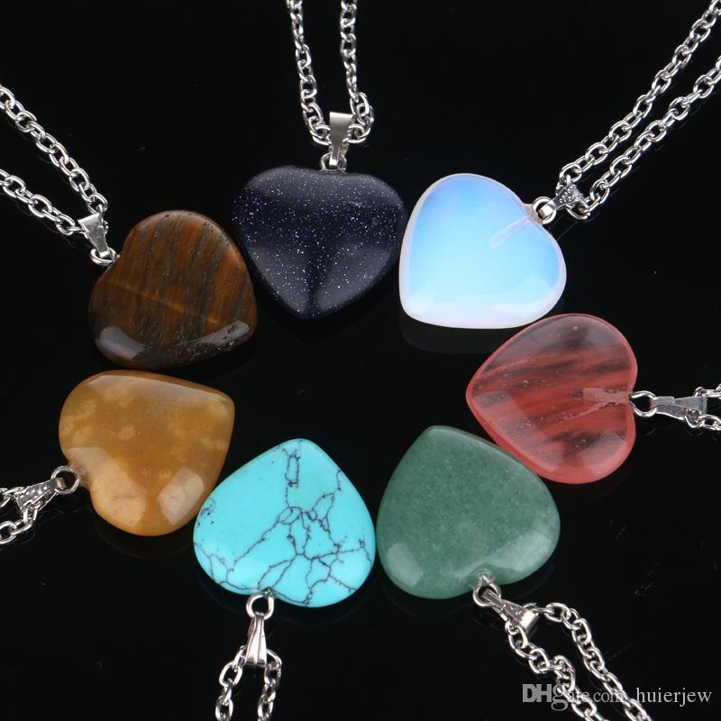 Colar de jóias Cheap Curing Crystals Ametista Rosa Quartz Bead Chakra Point Point Mulheres Homens Natural Pedra Pingentes Colares de Couro