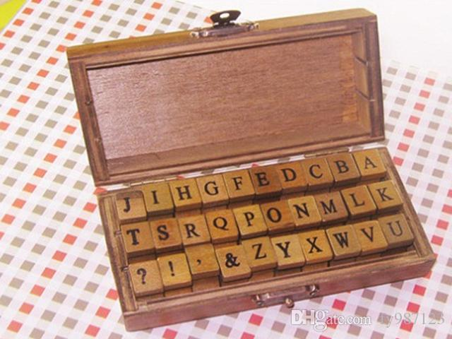 Hot selling Vintage DIY Number And Alphabet Letter Wood Rubber Stamps Set With Wooden Box For Teaching And Play