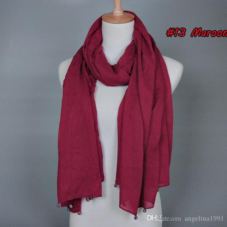 Wholesale plain crystal diamond ball scarf fashion cotton viscose long shawls muslim hijab wrap scarves/scarf