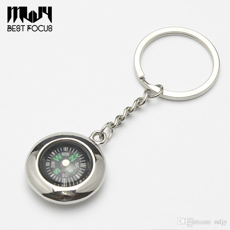 MLJY Compass Keychain Tyre Shaped Compass Decoration Pocket Alloy Key Ring Watch Style Adventure Camping Hiking Creative Gift