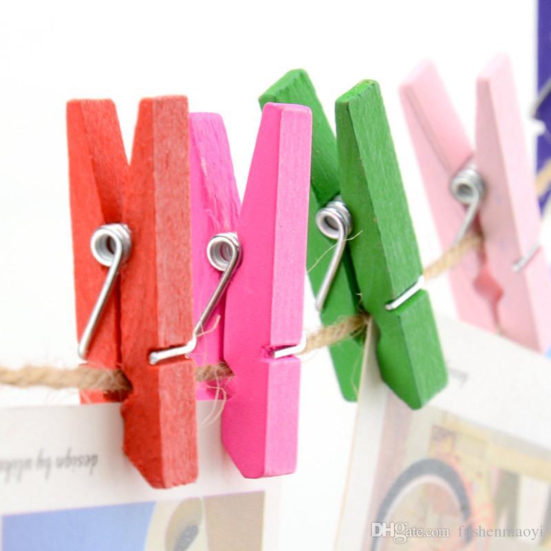 Mini Bahar Klipler Clothespins Güzel Tasarım 35mm Renkli Ahşap El Sanatları Asılı Giysi Kağıt Fotoğraf Mesaj Kartları Için Kazıklar