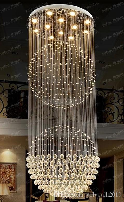 Lustres de cristal Penthouse Villa Sala de Iluminação Luminárias Teto Dupla Rotação Teto Pingente com D80CM AC100 a 240 V FCC CE LLFA