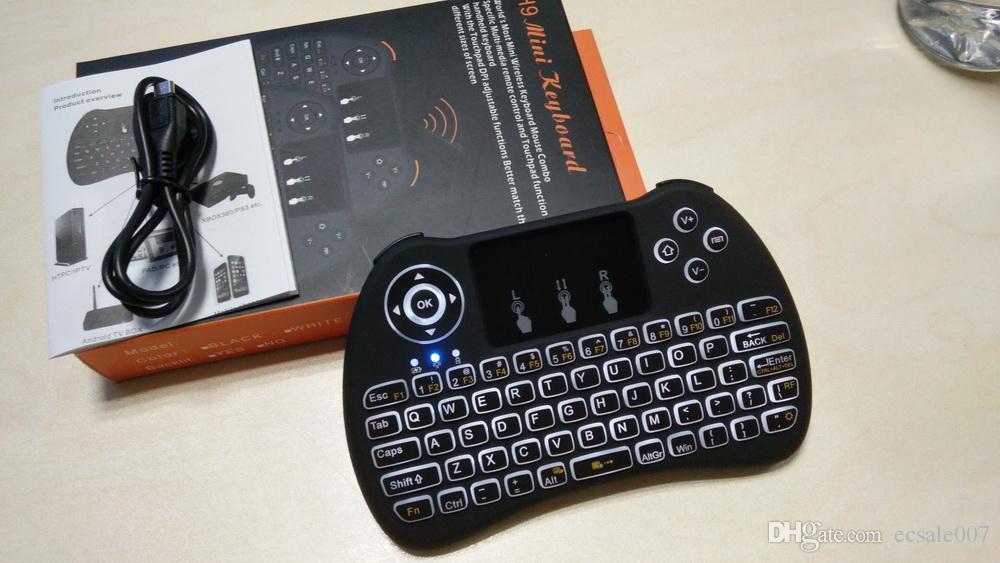 Teclado Sem Fio Sem Fio PC rii i8 H9 Teclado Retroiluminado Fly Air Mouse Multi-Mídia Controle Remoto Touchpad Handheld Para S905X X96 CAIXA de TV