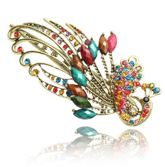 Bohemian Rhinestone Hair Clips Lovely Vintage Jewelry Crystal Green Peacock Hair Clips Hair Accessories for Women Wedding Accessory