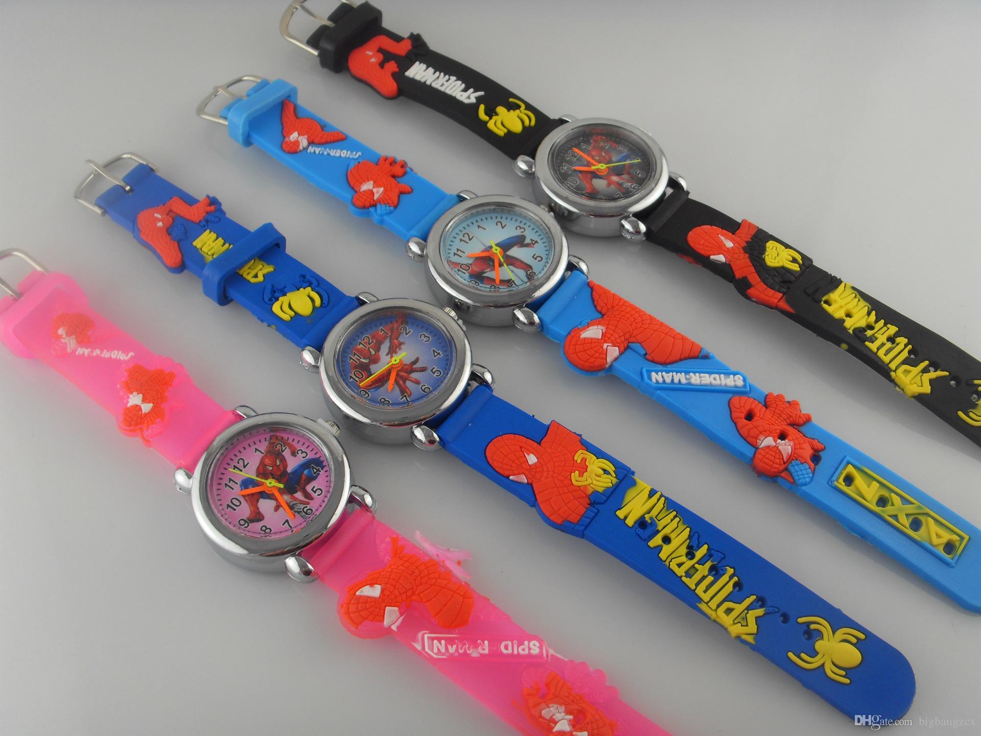 3D Dos Desenhos Animados Doces Bonito Spiderman assistir Adorável Crianças Meninas Meninos Crianças Estudantes de Quartzo Relógio de Pulso borboleta golfinho Carro Princesa relógios.
