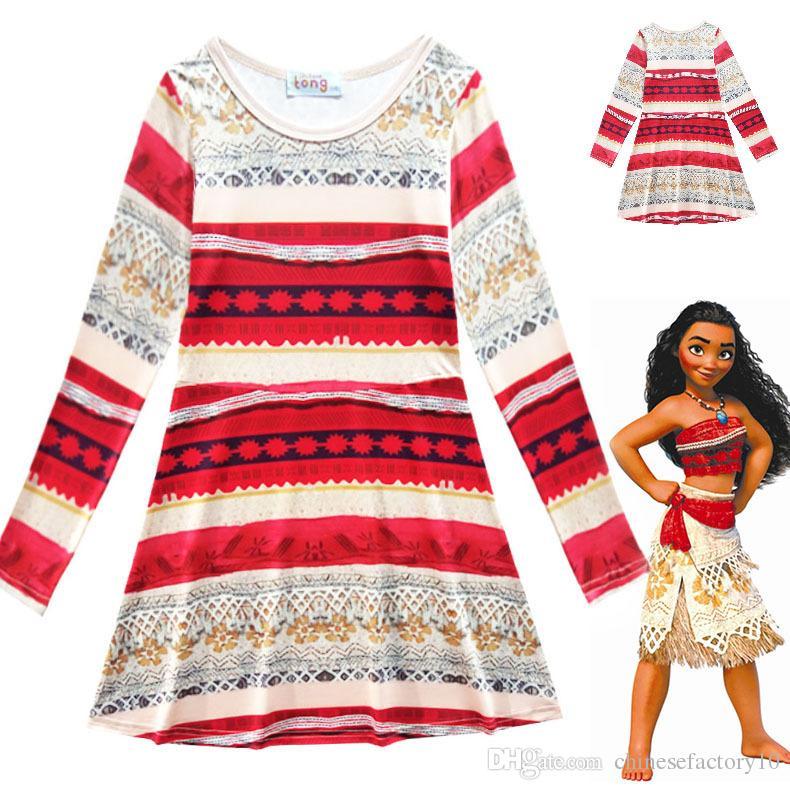 2017 Spring Autumn Girls Long Sleeve Dresses Kids Moana Clothing ...