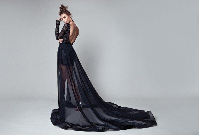 Berta 2017 Black Evening Dresses Long Sleeve Backless Short Prom Gowns With Detachable Train Bateau Neck Lace Applique Party Dress