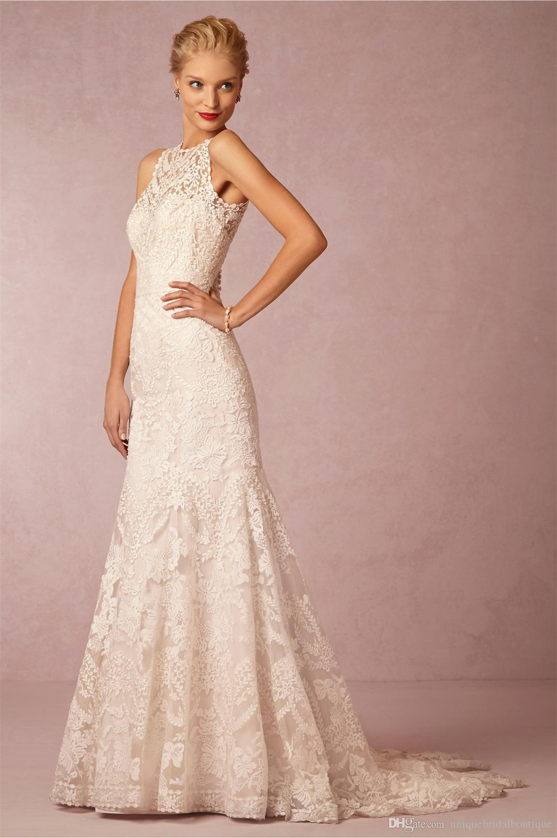 Bhldn 2016 Mermaid Wedding Dresses With Illusion Back And Court ...
