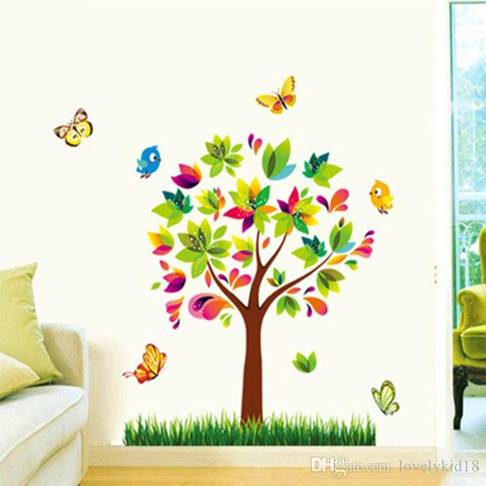 Lovely Colorful Tree Wall Stickers Butterfly Grass Wall Decals - Wall decals grass