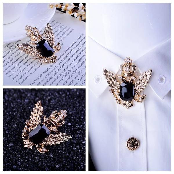 buy crown swarovski stud lapel pin brooch golden for men dp shirt