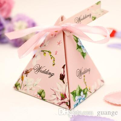 NEW European style pink purple blue Pearl paper triangle pyramid Wedding box Candy Box gift boxs wedding favour boxes TH190