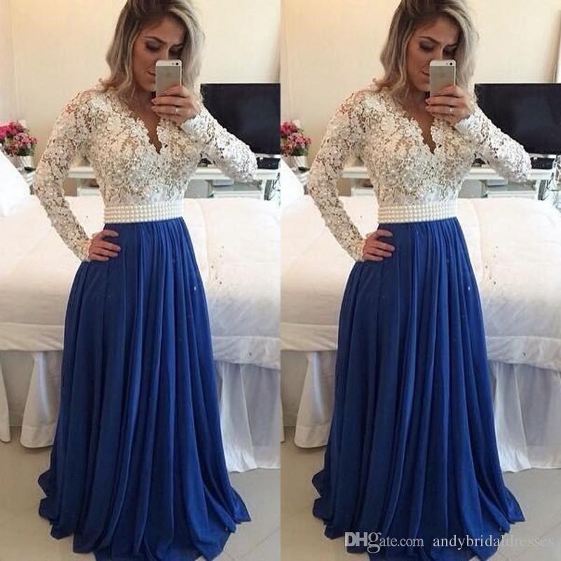 Nigerian Lace Styles vestido de noche de manga larga Prom Vestidos Pearls Sash Bare Back A Line Vestidos de noche largos formales Vestidos de noche