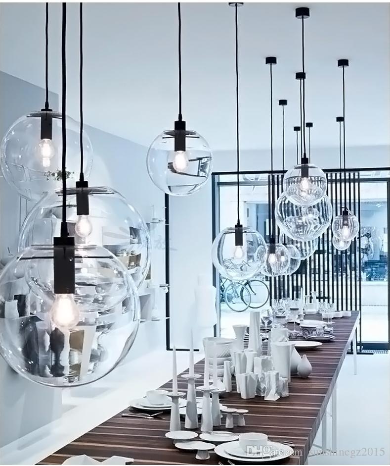 Nuevo Modern Nordic Lustre Globe Pendant Lights Bola de cristal Lámpara de sombra Lámpara colgante E27 Suspensión Kitchen Light Fixtures Iluminación para el ...