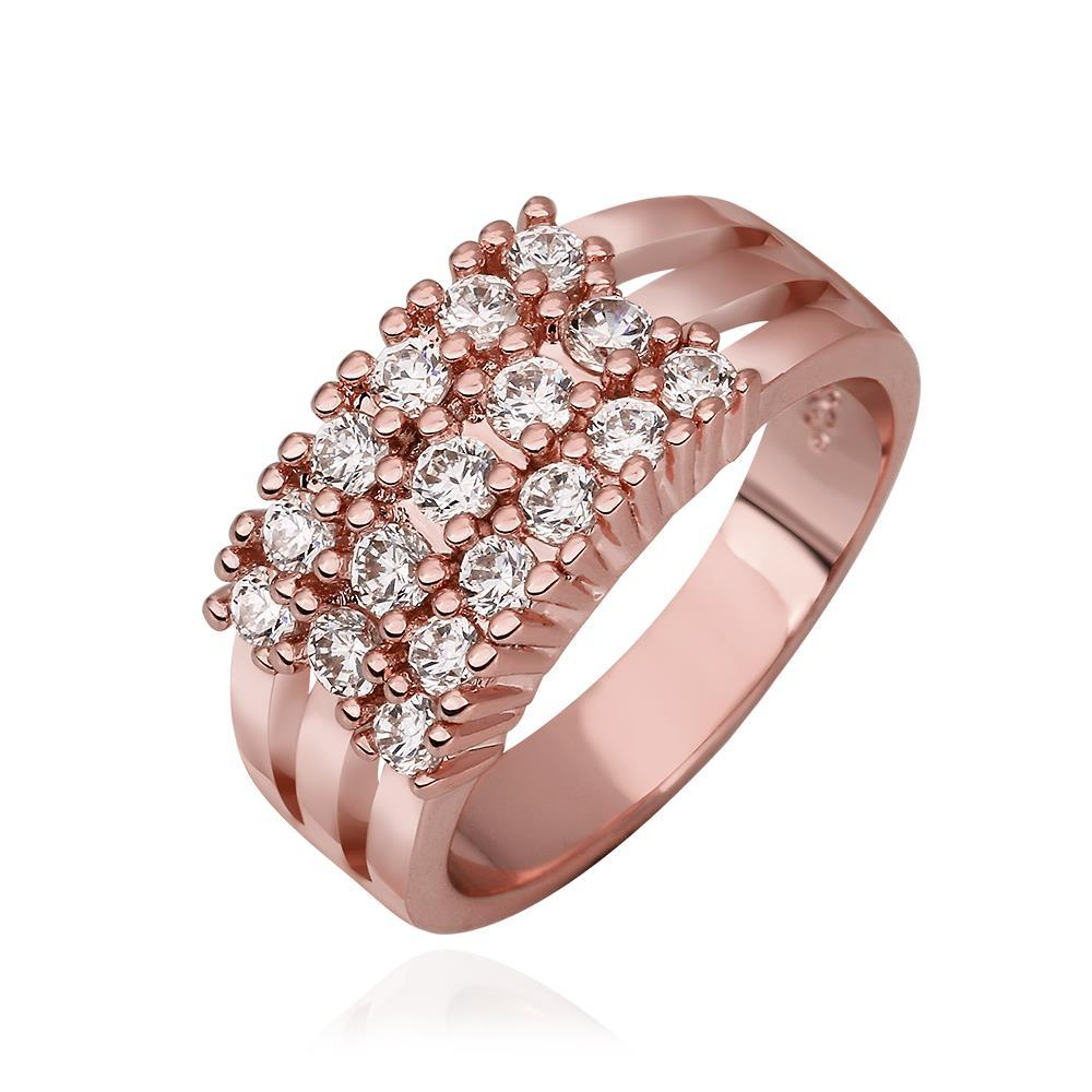 2018 Elegant Lady Rose Gold Plated Crystal Rings Wide Finger Band ...