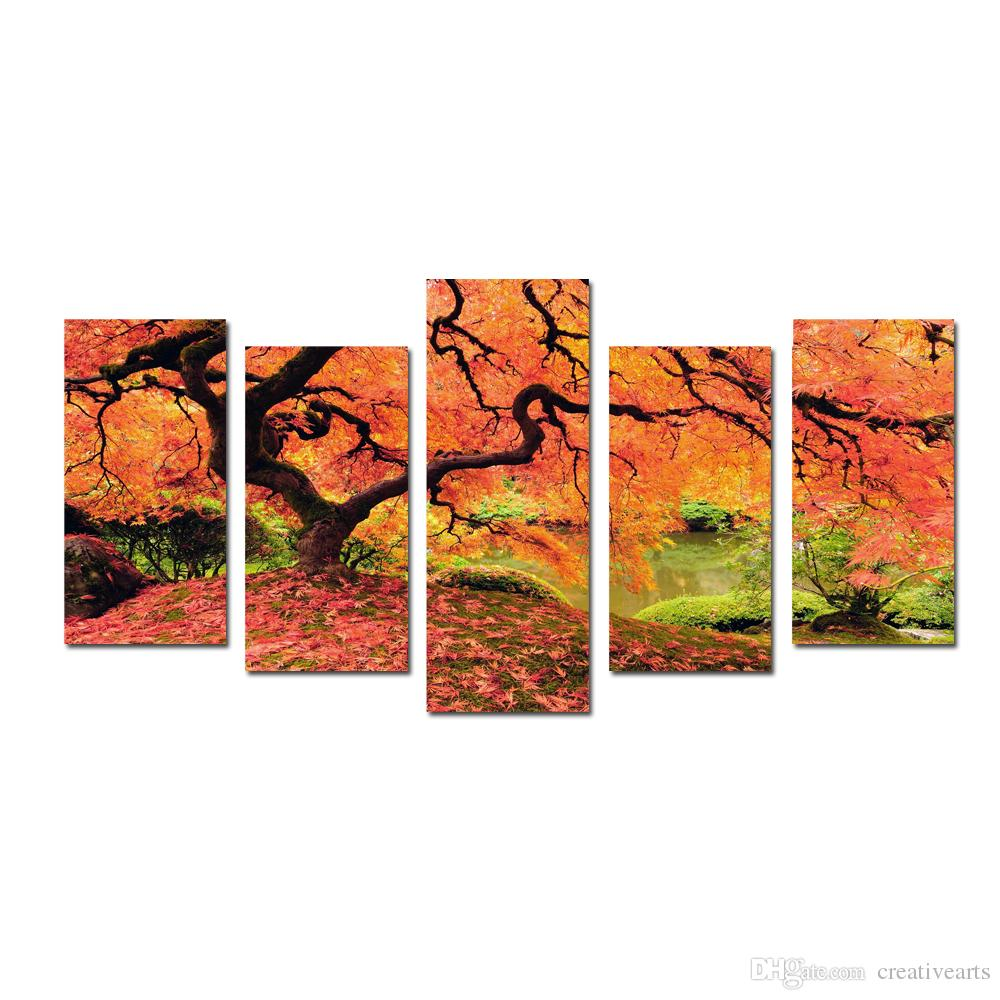 2017 multi panel red maples tree canvas prints wall art modern