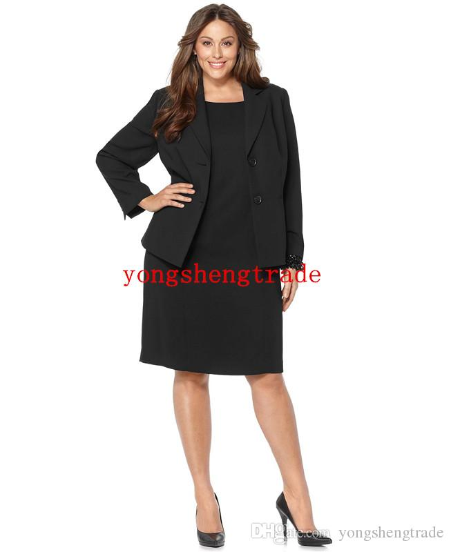 Plus Size Notched Collar Jacket & Sleeveless Sheath Dress Custom Made Suit  Custom Made Black Woman Suit (Jacket Dress) HS7957