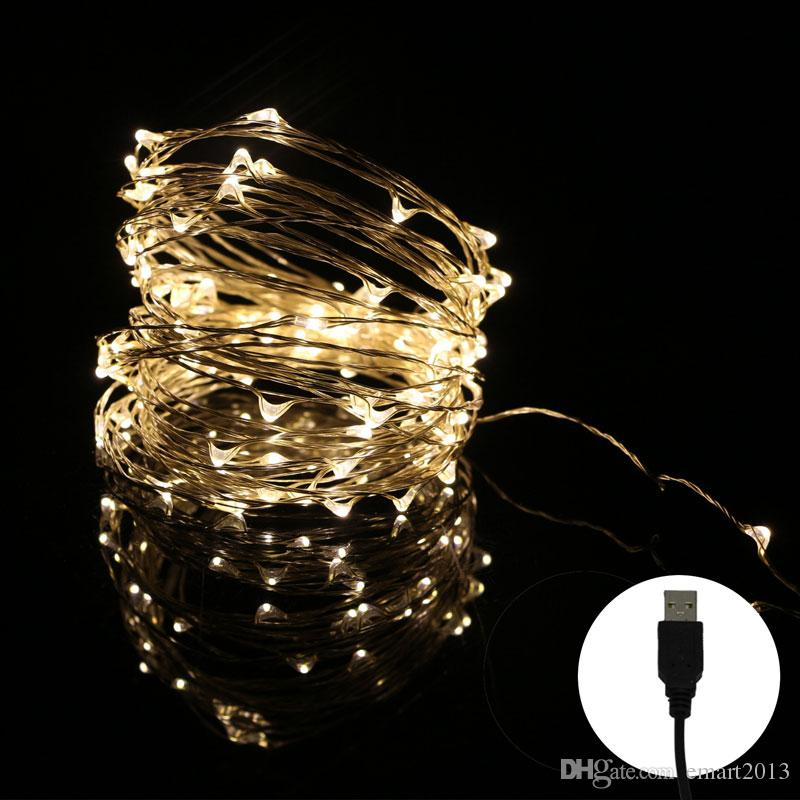100pcs/lot 10M 33FT 100 led USB Outdoor Led Copper Wire String Lights Or Christmas Festival Wedding Party Garland Decoration Fairy Lamps