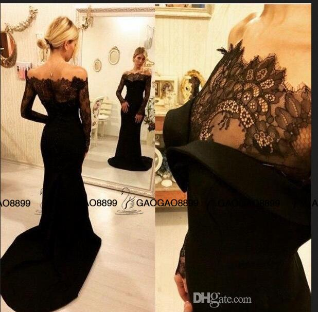 Zuhair Murad 2019 Black Lace Evening Gowns with Long Sleeves Arabic Dubai Women Wear Curved Off-Shoulder Mermaid Formal Prom dresses