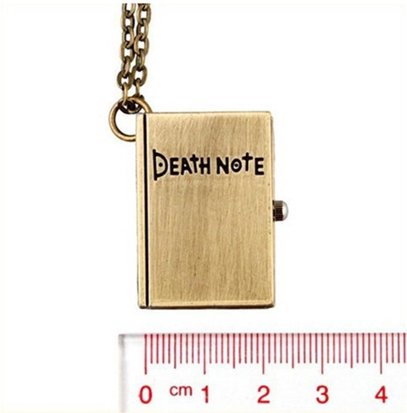Fashion Death Note Pocket Watch nero bronzo quaderno quadrato collana pendente libro Orologi al quarzo uomo donna regalo di Natale 230146