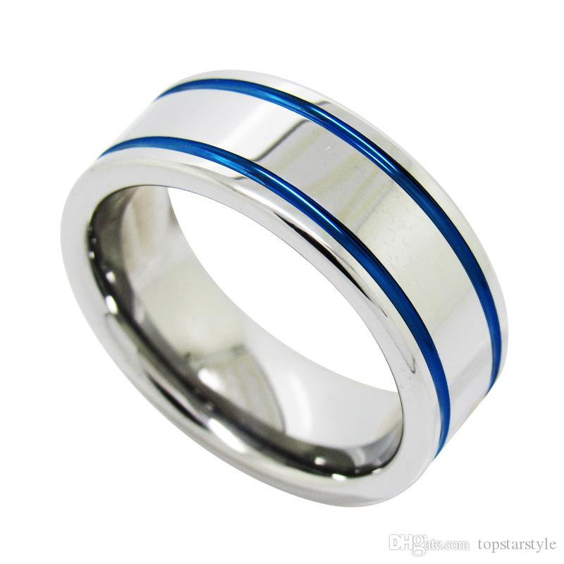 for matching band tungsten edge couples bands his twotone and set ring center step p wedding jewelry hers with raised polished stepedge gold tone two carbide