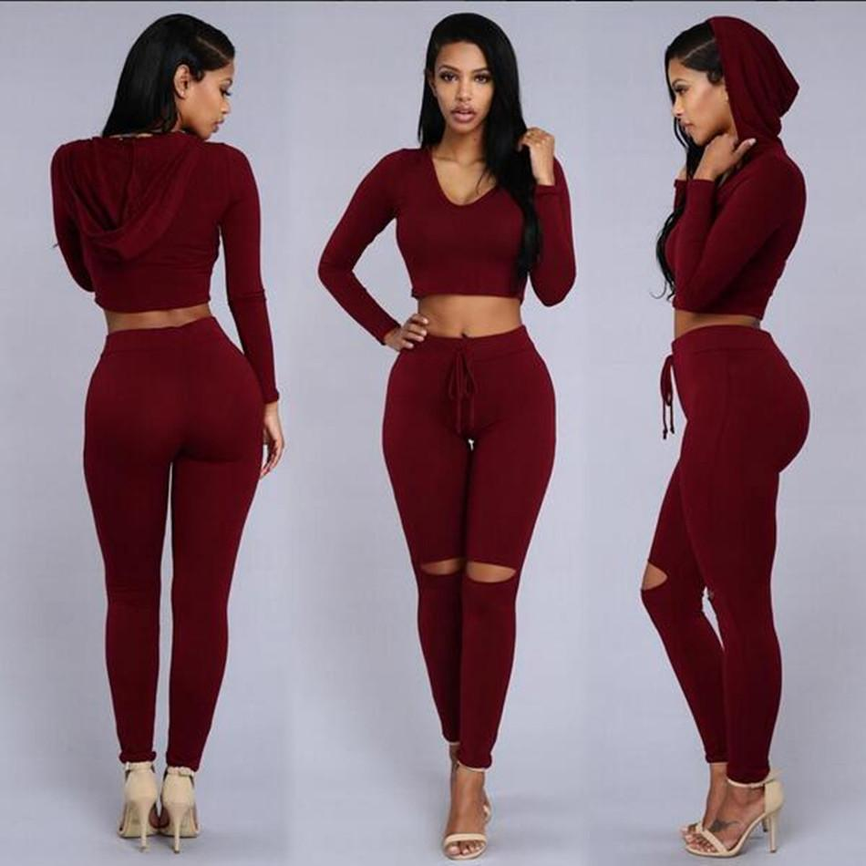 89763fef54d6 2019 Women Two Piece Outfits Pants 2016 Hot Spring Long Sleeve Ripped  Bodycon Rompers And Jumpsuits Casual Red Black Hooded Jumpsuits From  Ellen0508