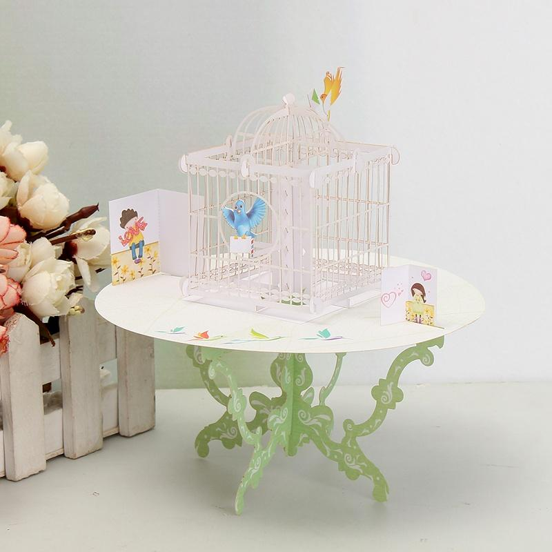 Wholesale 3d pop up greeting card table bird cage shape happy wholesale 3d pop up greeting card table bird cage shape happy birthday love gift greeting card desk decor gift event party supplies unique greeting cards m4hsunfo