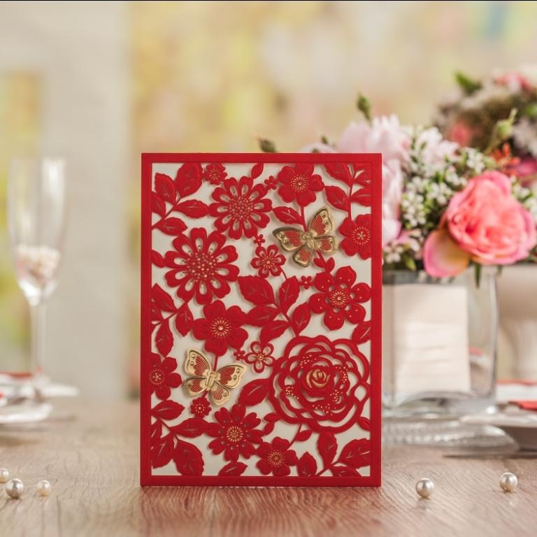 Wholesale chinese red butterfly laser cut embossing wedding wholesale chinese red butterfly laser cut embossing wedding invitations greeting birthday customize card supplies cw5270 blank greeting cards boxed m4hsunfo